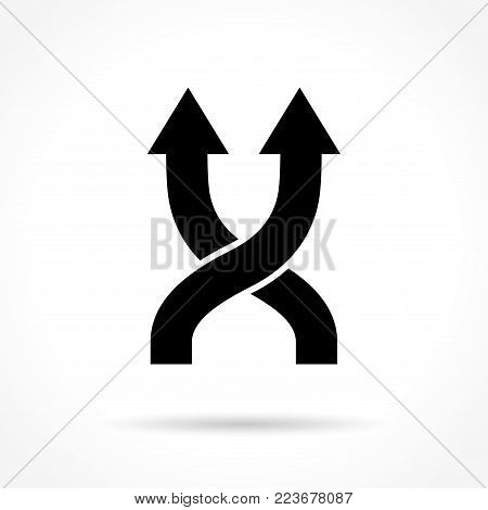Illustration of shuffle icon on white background