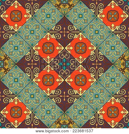 Card Set With Floral Glowing Decorative Mandala Elements Background. Asian Indian Oriental Ornate Ba