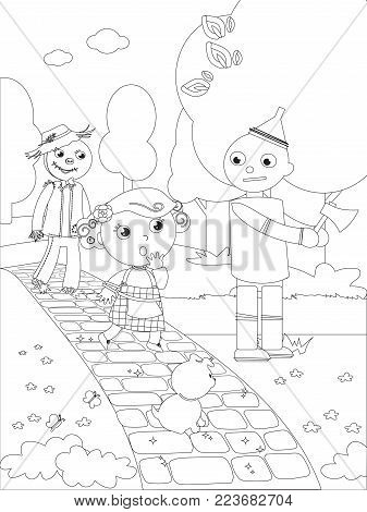 The wizard fairytale. Girl and the Scarecrow meet the Tin Man in the wood, coloring