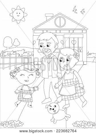 The wizard fairytale. Little girl back home with her grandparents, coloring illustration