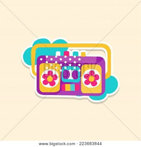 Colorful boom box or radio cassette tape player, cute sticker in bright colors, fashion patch vector illustration, badge in cartoon style