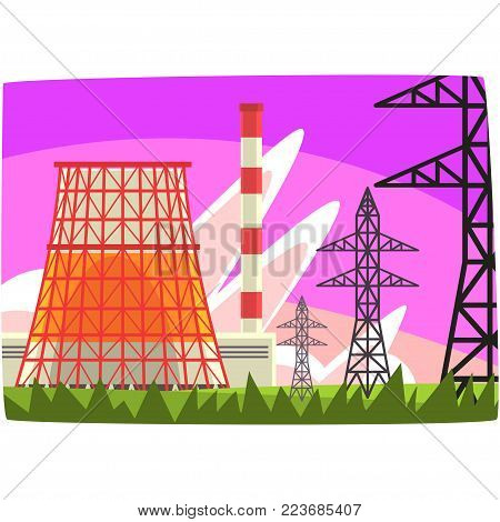 Traditional energy generation power station, electricity generation plant horizontal vector illustration on a white background