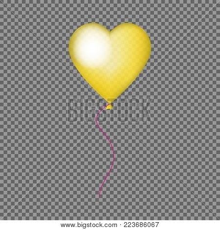 Glossy golden heart balloon isolated  icon for wedding, anniversary, Valentine's day, party, banner, poster, card, invitation, brochure. Mock up. 3D heart helium balloon on transparent background