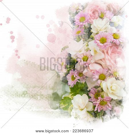 Watercolor painting (retouch) illustration of blossom flower. Artistic floral abstract background.