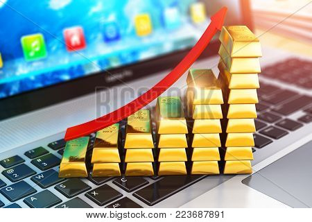 3D render illustration of the macro view of bar graph from gold ingots or bullions with red arrow on laptop or notebook with selective focus effect