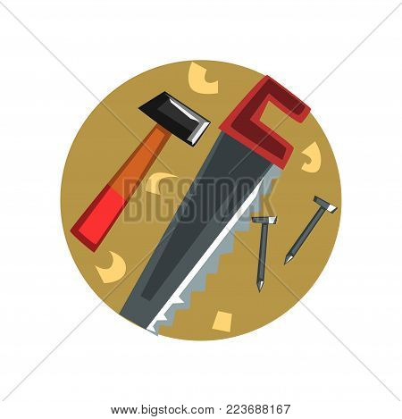 Symbols of the carpenter profession, carpentry tools cartoon vector Illustration on a white backgroun