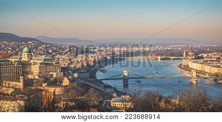 Panoramic View of Budapest and the Danube River as Seen from Gellert Hill Lookout Point. Royal Palace, Parliament, Chain Bridge.