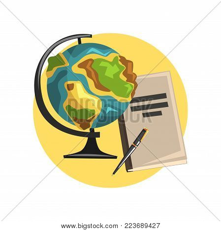 Education icon, globe, book and pointer, symbols of the teaching profession cartoon vector Illustration on a white backgroun