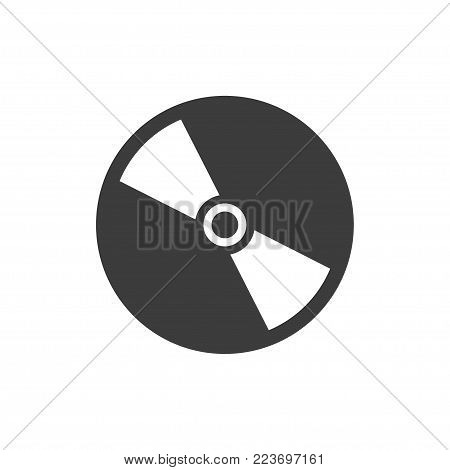 CD or DVD icon. Flat black vector illustration on white background.