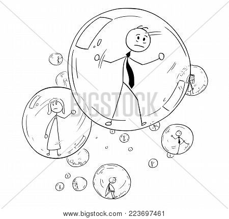 Cartoon stick man drawing conceptual illustration of businessman and businesswoman or people imprisoned inside glass bubbles. Business concept of human isolation and limitation.
