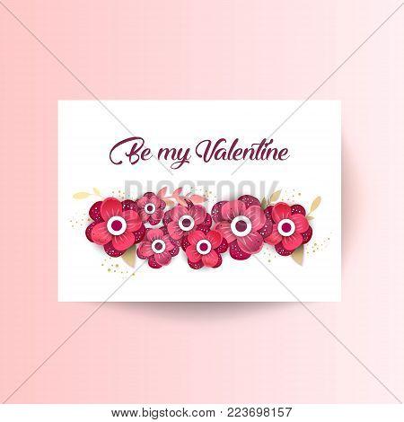 Be my Valentine. Spring floral  paper cut design vector banner. Flower Arrangement for your design