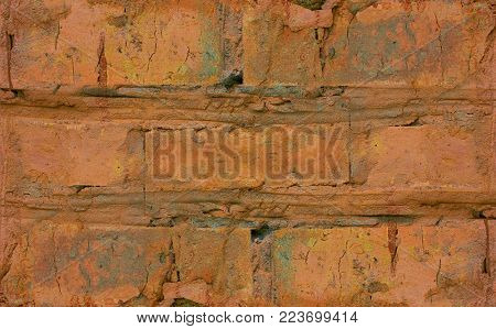 fragment of an old red brick walls, close-up