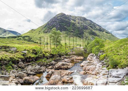 Ston mor mountain with river Etive in foreground, Lochaber, Scotland