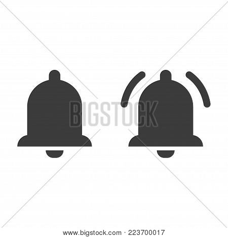 Bell icon, Alarm, service bell, handbell sign. Flat black vector illustration on white background.