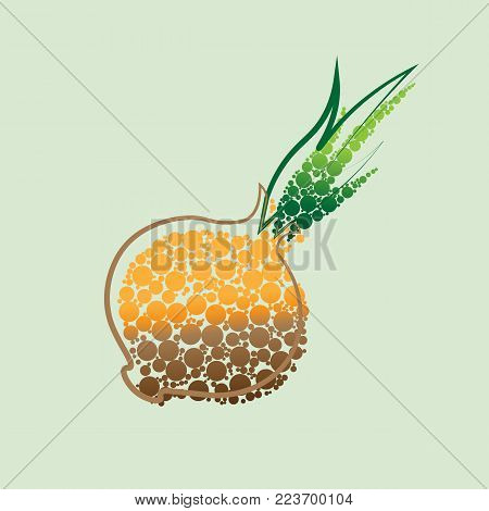 Fresh Vegetable Onion isolated icon. Onion for farm market, vegetarian salad recipe design. vector illustration in flat style