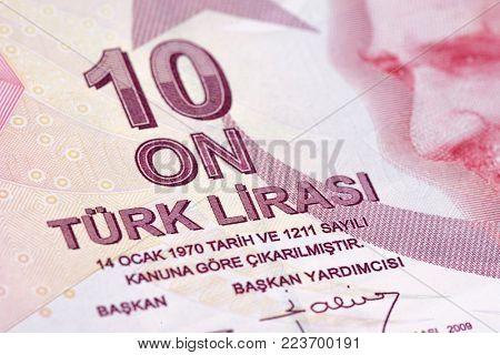 Turkish paper currency ten Lira close up.