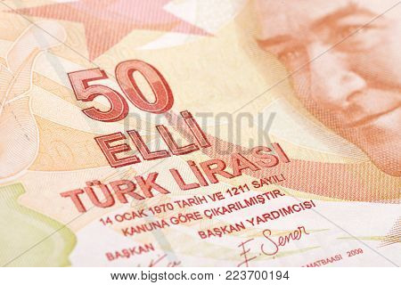 Turkish paper currency fifty Lira close up.