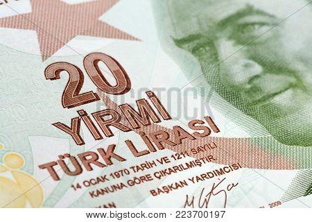 Turkish paper currency twenty Lira close up.