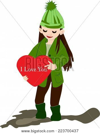 modern little girl and a red heart in his hand.spring, festive mood. color vector illustration of a girl on absenteeism.