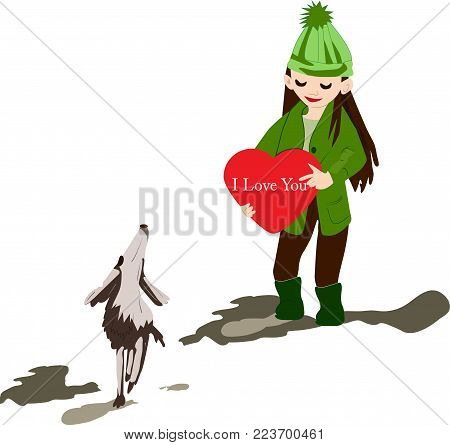 spring walk girls having fun with a beautiful dog and a heart in his hands.  color vector illustration of a girl on absenteeism.