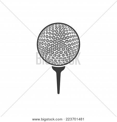 Golf ball close-up icon. Flat black vector illustration on white background.