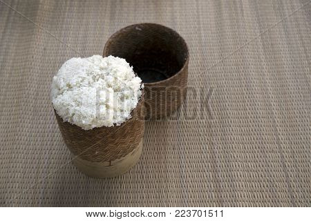 Rattan Box With Hot Sticky Rice