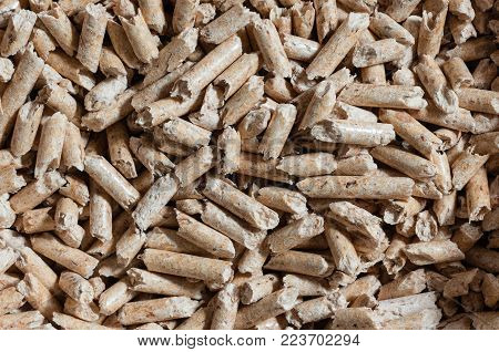 Close up of natural wood pellets for heating