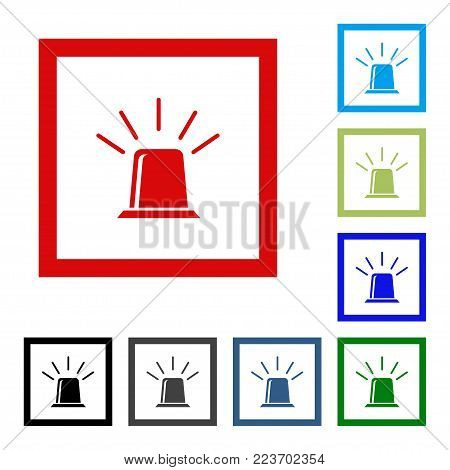 Flasher icon, alarm siren isolated icon. Vector flat design icon.