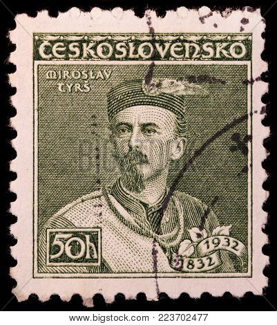LUGA, RUSSIA - JANUARY 23, 2018: A stamp printed by CZECHOSLOVAKIA shows portrait of Miroslav Tyrs - Czech art historian, sports organizer and founder of the Sokol movement, circa 1932