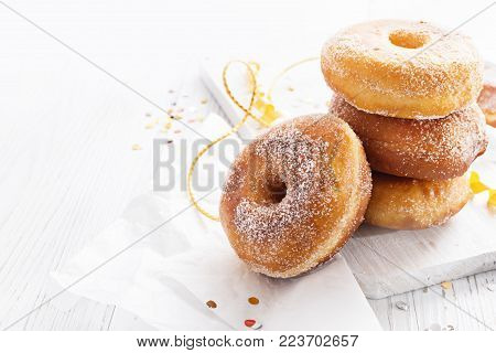 Graffe - Tipical Carnival Italian Fried Donuts  On White Wooden Board, Copy Space.