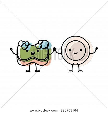 kawaii cartoon dish and sponge holding hands in colorful watercolor silhouette vector illustration