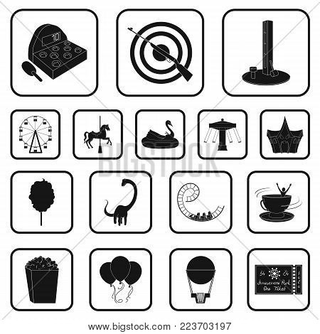 Amusement park black icons in set collection for design. Equipment and attractions vector symbol stock  illustration.