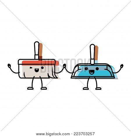 kawaii cartoon hand dustpan and hand broom holding hands in colorful watercolor silhouette vector illustration