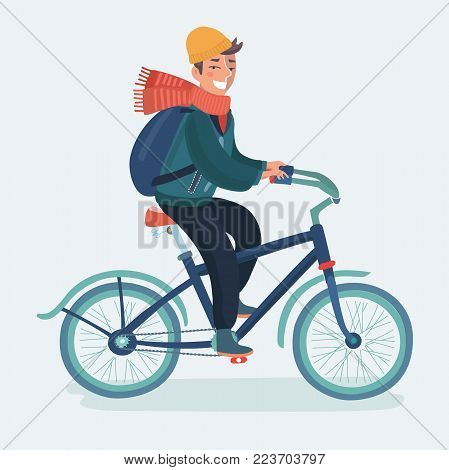 Vector cartoon illustration of Bicyclist riding urban bike in cold season. Spring, autumn, winter. Man with backpack and scarf on a bicycle. Character on isolated white background.