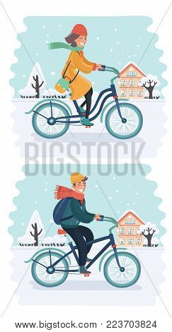 Vector cartoon set illustration of woman and man riding bicycle in winter season. Snowy landscape