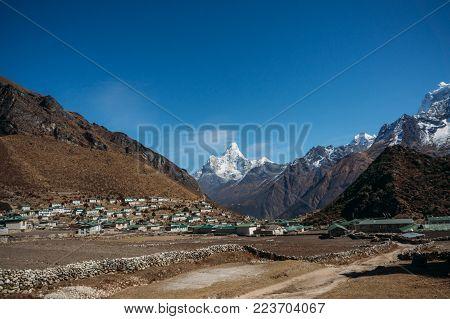view on Lower Pangboche village and Ama Dablam mountain, Nepal, Khumbu, November 2014