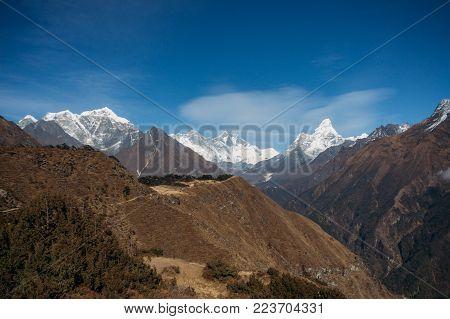 view on Ama Dablam mountain in Nepal, Sagarmatha, November 2014