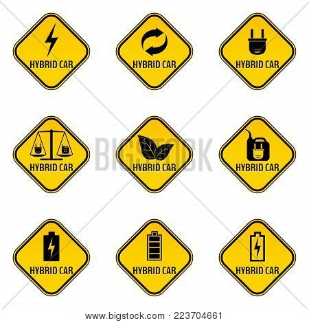 Set of hybrid car caution stickers. Save energy automobile warning signs. Eco transport symbols in yellow and black rhombus to a vehicle glass. Vector illustration.