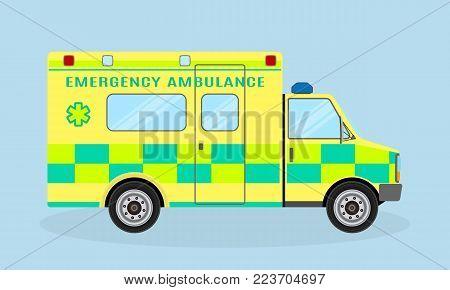 Ambulance vehicle. Emergency medical service car, side view. Paramedics hospital transport with health symbol. Flat style vector illustration.
