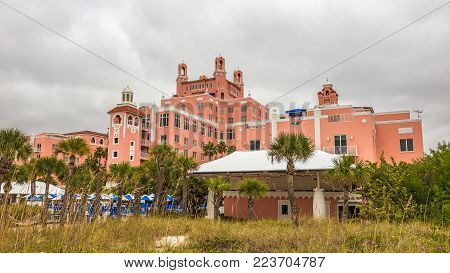 ST. PETERSBURG, FLORIDA - JANUARY 14, 2015 : Loews Don CeSar Hotel located in St. Pete Beach. It is a member of Historic Hotels of America, the program of the National Trust for Historic Preservation.