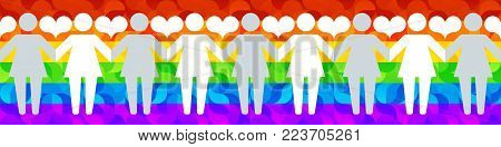 Pictograms of lesbian women holding hands on a background of lgbt flag and hearts. Vector illustration in a modern flat style, for registration of polygraphy, sites.