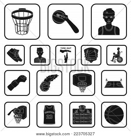 Basketball and attributes black icons in set collection for design.Basketball player and equipment vector symbol stock  illustration.