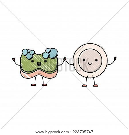 kawaii cartoon dish and sponge holding hands in colored crayon silhouette vector illustration