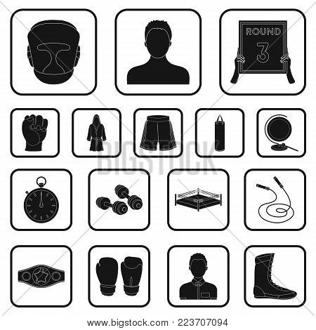 Boxing extreme sports black icons in set collection for design. Boxer and attributes vector symbol stock  illustration.