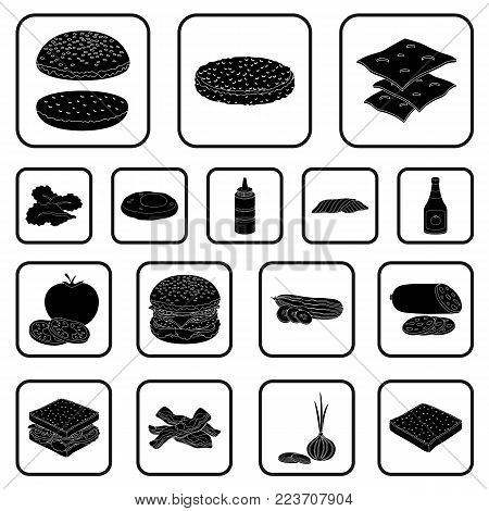 Burger and ingredients black icons in set collection for design. Burger cooking vector symbol stock  illustration.