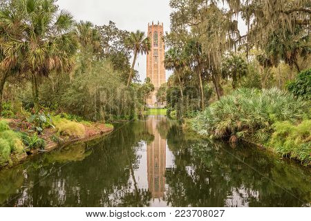 The Singing Tower in Bok Tower Gardens near Lake Wales, Florida. Bok Tower Gardens  is a National Historic Landmark  and a bird sanctuary located north of Lake Wales.