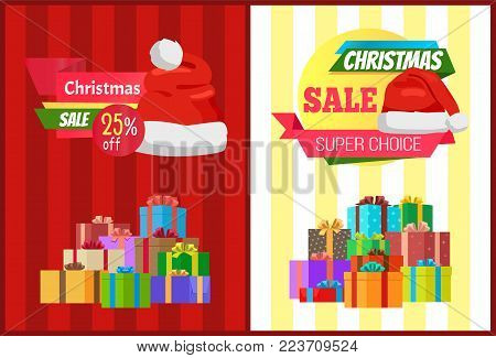 25 off Christmas sale super choice posters with wrapped presents, promo label decorated by Santas hat vector illustration discount sticker on stripes