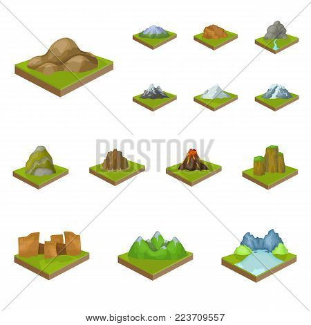 Mountains, massive cartoon icons in set collection for design. The surface of the earth vector isometric symbol stock  illustration.