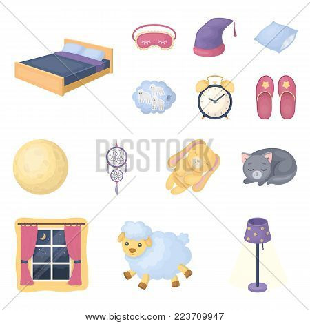 Rest and sleep cartoon icons in set collection for design. Accessories and comfort vector symbol stock  illustration.