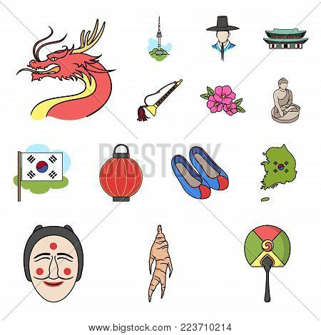 Country South Korea cartoon icons in set collection for design.Travel and attraction vector symbol stock  illustration.